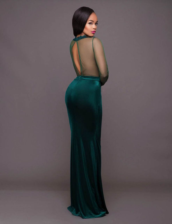 Elegant Green Mesh Embroidery Velvet Maxi Plus Size Evening Gowns