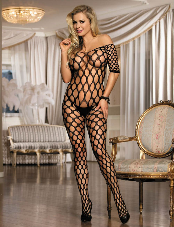 Stylish Off Shoulder Sexy Black Hollow Fishnet Body Stockings