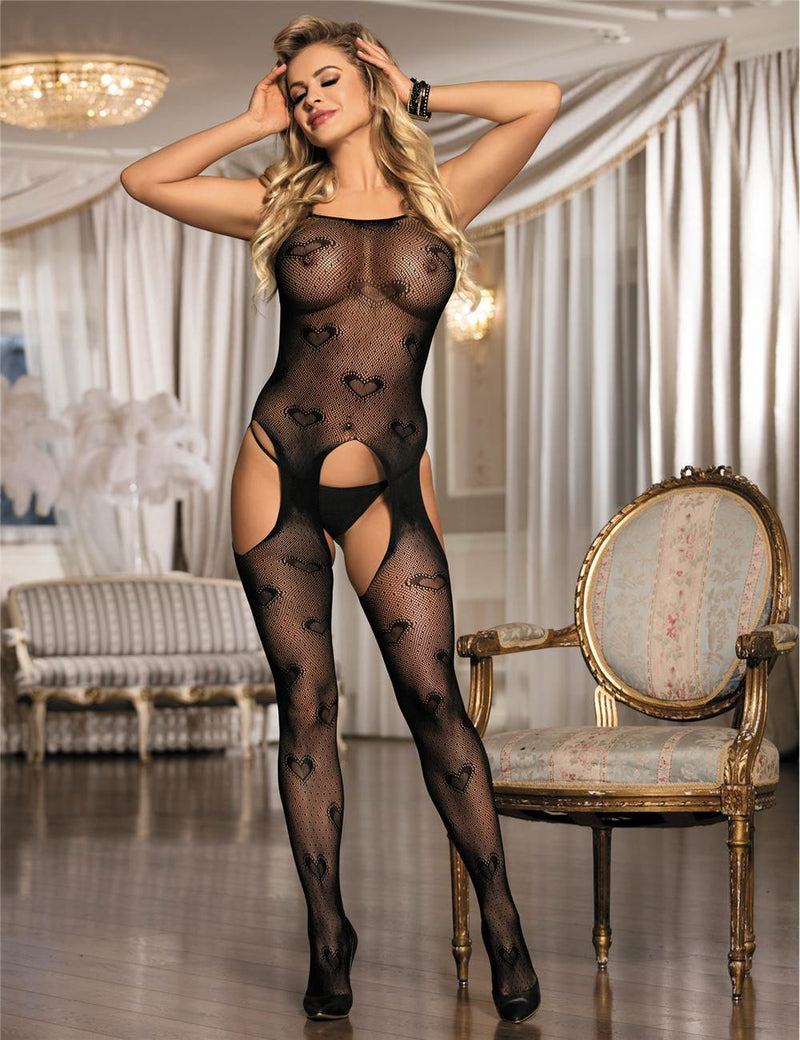 Good Quality Heart Pattern Sexy Open Crotch Black Bodystocking