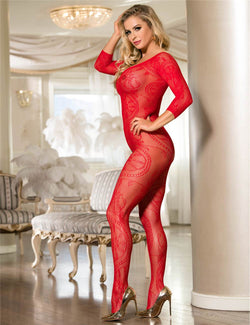 Classy Red Fishnet Stretchy Sexy Open Crotch Body Stockings