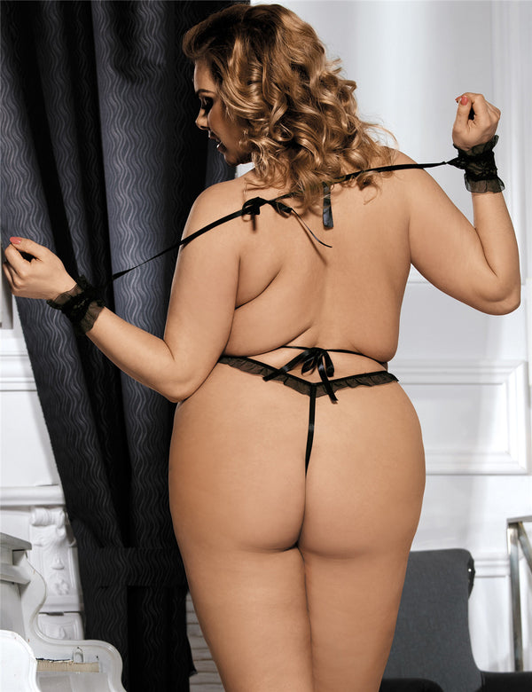 Plus Size Black Mesh Ruffled Backless Teddy Lingerie