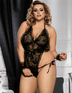 Plus Size Black Ruffle Floral V Neck Sexy Backless Teddy Lingerie