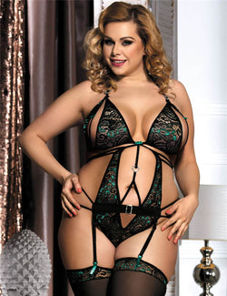 Extreme Sexy Plus Size Peacock Green Backless Teddy Lingerie
