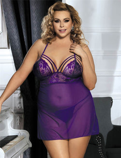 Plus Size Purple Lace Cup Sexy Babydoll Sheer Mesh Sleepwear