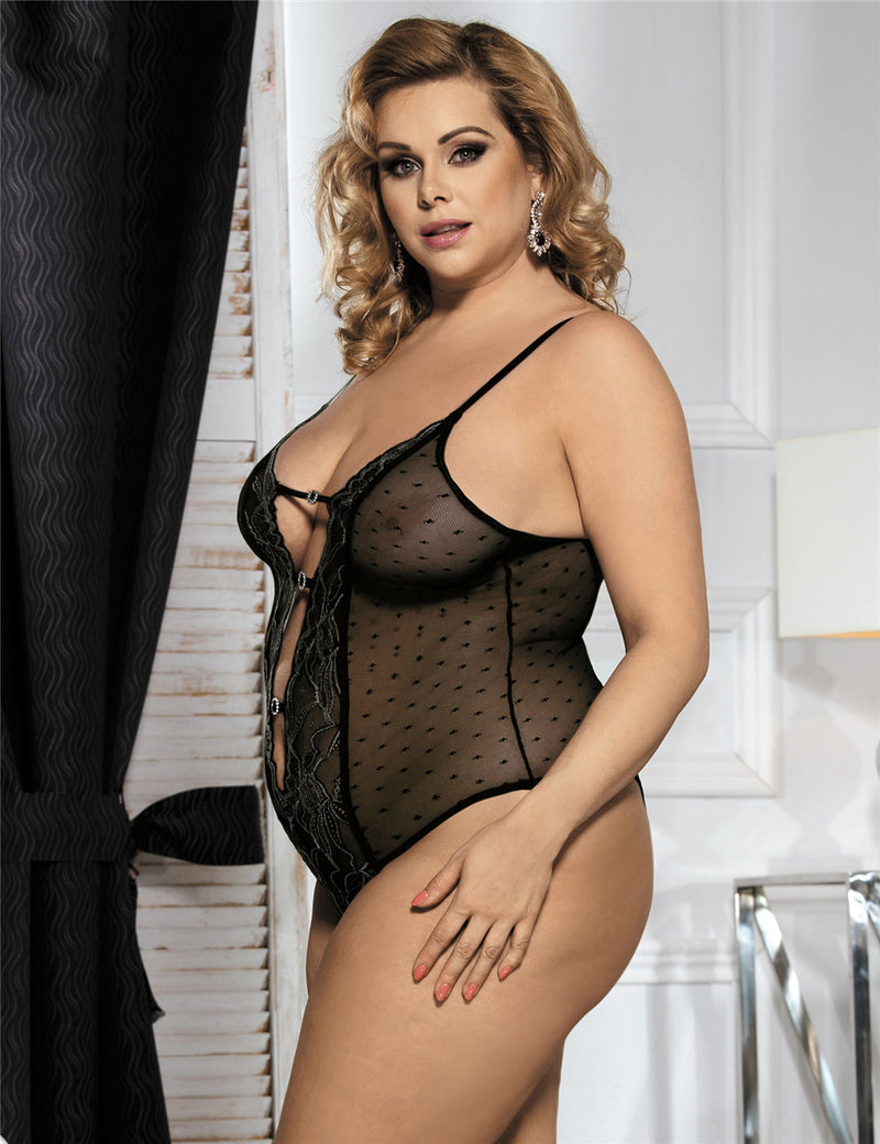 Plus Size Black Mesh Transparent Embroidery Halter Teddy Lingerie