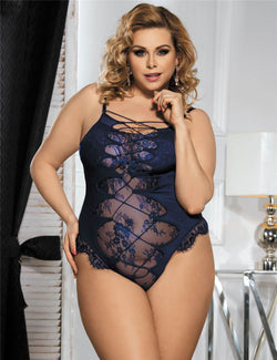 Plus Size Blue Lace Front Fasten Back Hollow Out Sexy Teddy