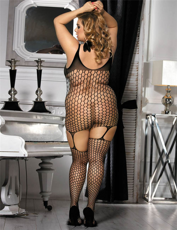Plus Size High Elasticity Bold Cutout Pothole Black Bodystockings