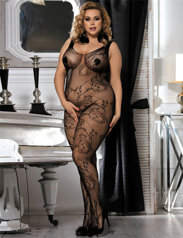 Plus Size Open Crotch Flower Pattern Women Sexy Fishnet Bodystocking