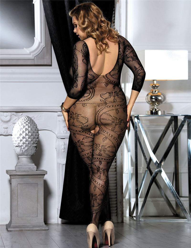 Plus Size Black Floral Fishnet Crotchless Body Stockings