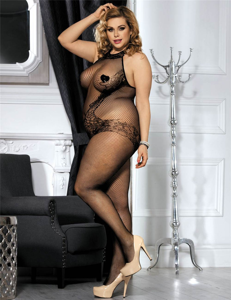 Plus Size Lace and Fishnet Open Crotch Bodystocking