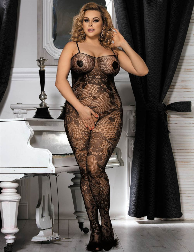 Plus Size Floral Embroidery Black Crotchless Sexy Bodystocking