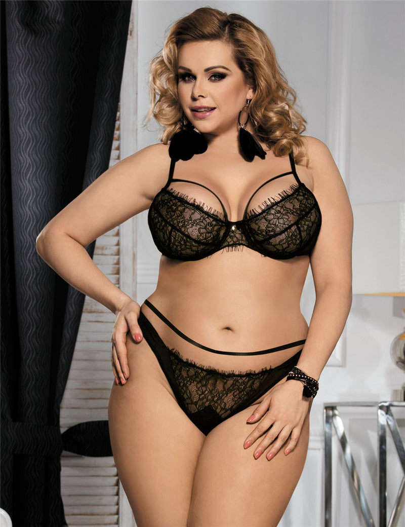 Free Shipping Plus Size Black Eyelash Lace Underwired Sexy Bra Set