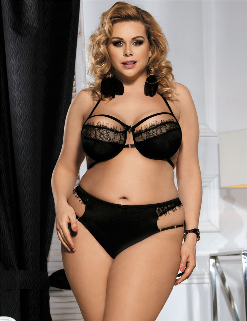 Plus Size Sheer Black Eyelash Lace Strappy Bra Panty Set