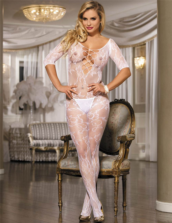 Rose Flower Pattern Open Crotch White Fishnet Body Stockings