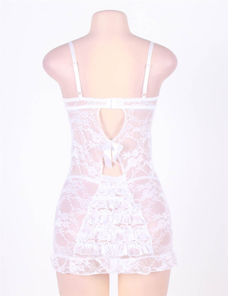 Classy White Floral Mesh Underwired Back Hollow Babydoll Dress