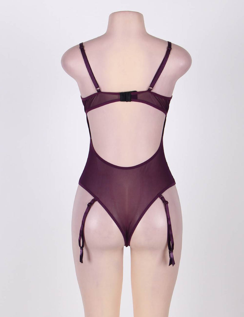 Super Delicate Purple Mesh Back Hollow Underwired Teddy Lingerie