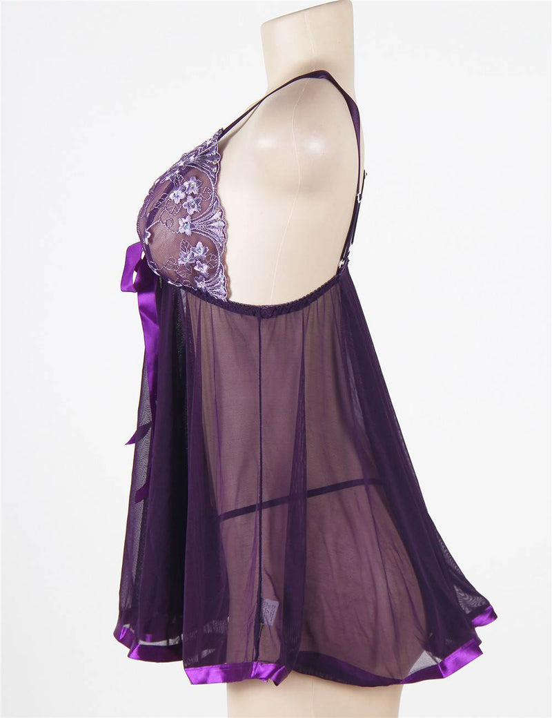 Alluring Purple Sheer Mesh Floral Embroidery Sexy Babydoll Dress
