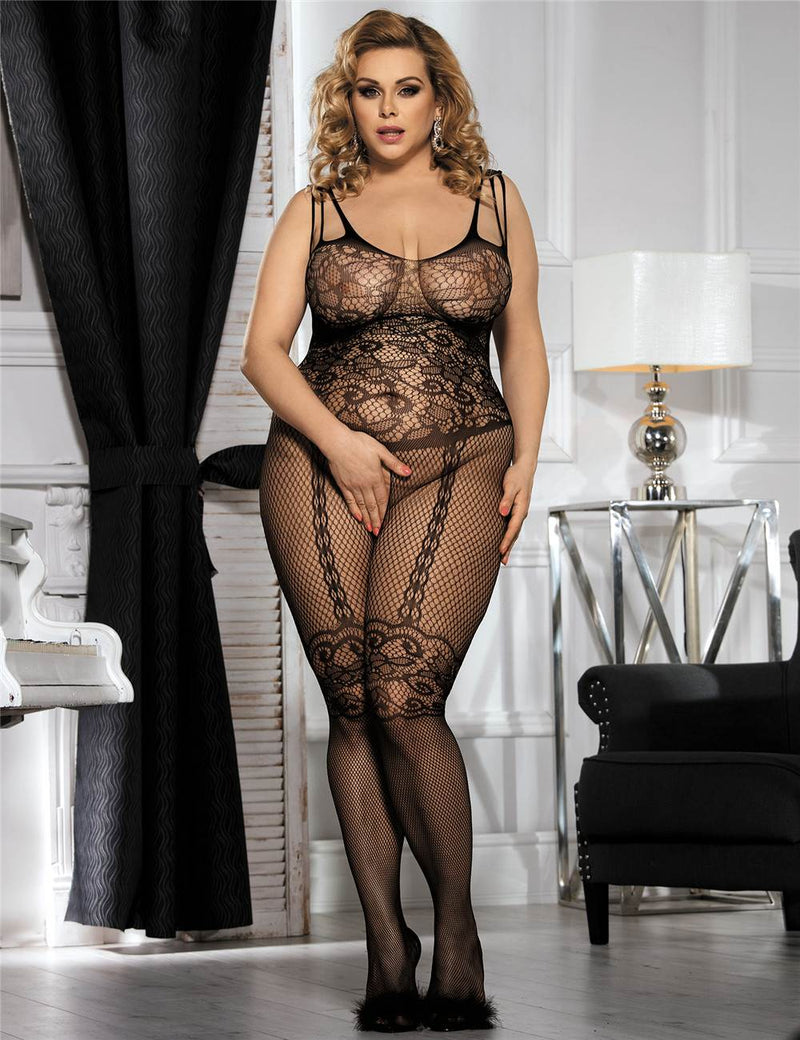 Delicate Floral Pattern Hollow Crotchless White Fishnet Bodystocking