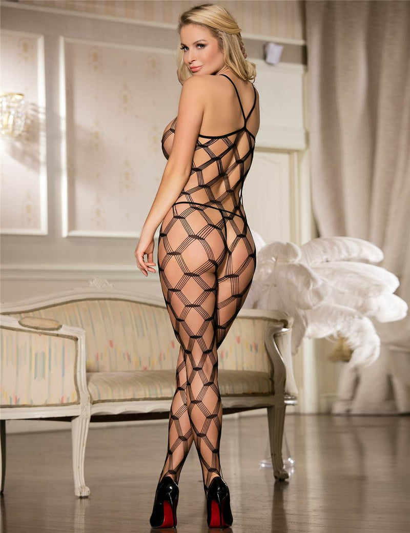 Extreme Alluring Hollow Out Erotic Stretchy Black Bodystockings