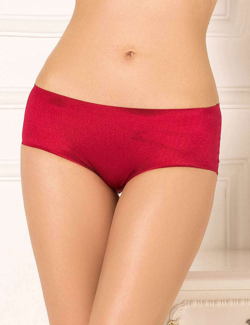 Exquisite Wine Red Sparkling Silky Plus Size Underwear Women Briefs