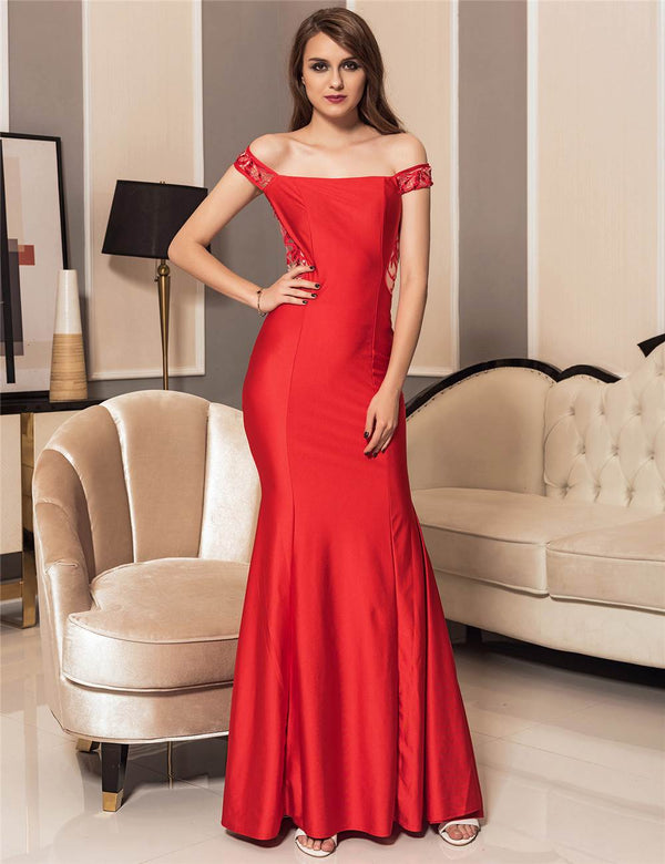Classy Off Shoulder Floral Embroidery Red Evening Gowns