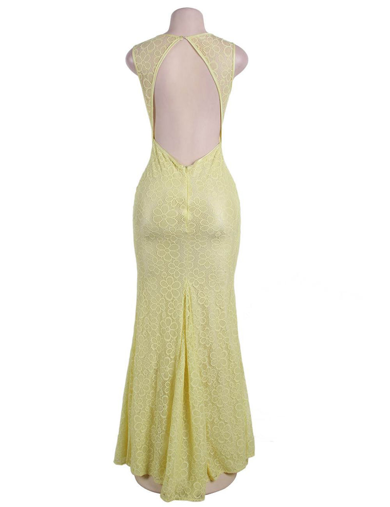 Delicate Floral Pattern Mermaid Evening Gown Yellow Lace Maxi Dress
