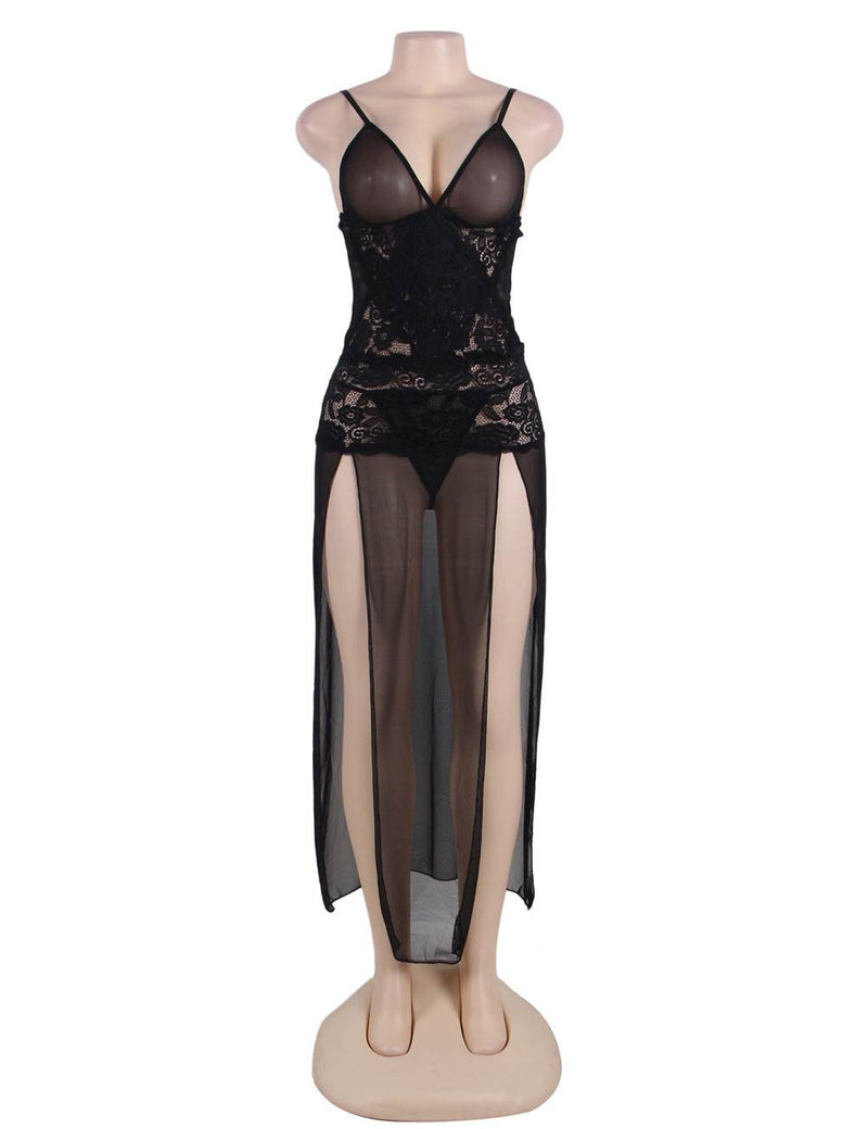 Elegant Plus Size Black Lace Sheer Mesh High Split Sexy Sleep Gown