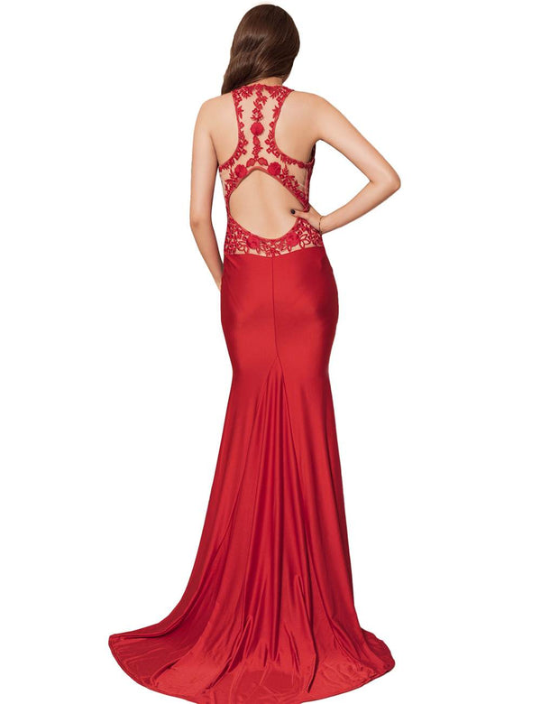Elegant Floral Embroidery Backless Floor Length Evening Gowns
