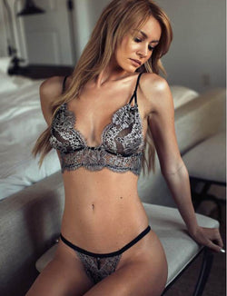 Hot Sale Tempting Silvery Lace Women Sexy Bra Underwear Set