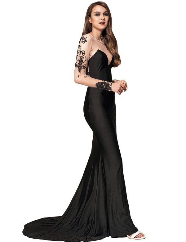 Gorgeous Long Sleeve Embroidery See Through Maxi Sexy Party Dresses