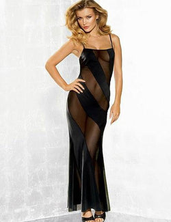 Plus Size Black Sheer Mesh Transparent Long Dress Maxi Gown
