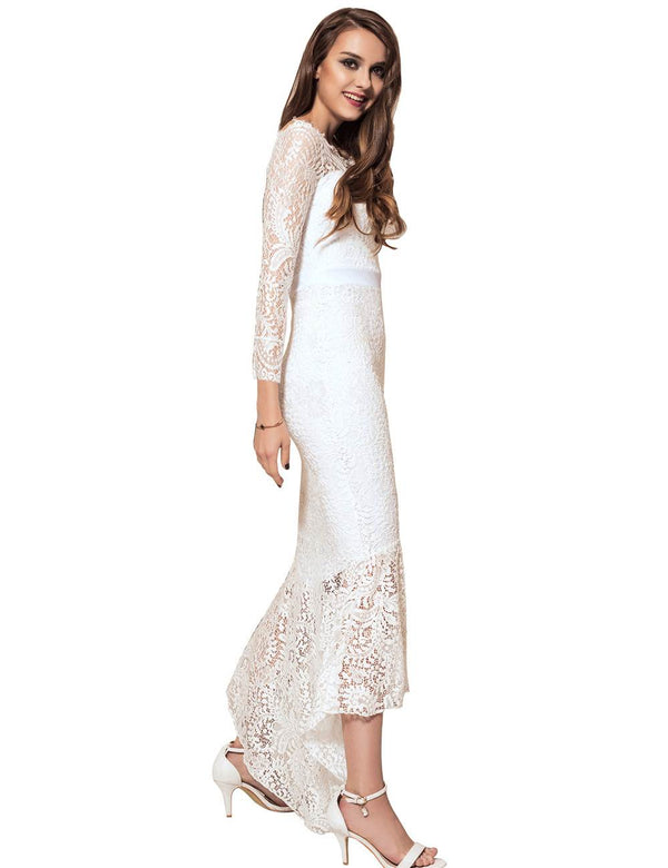 Elegant White Lace Off Shoulder Long Sleeves Bodycon Evening Dresses