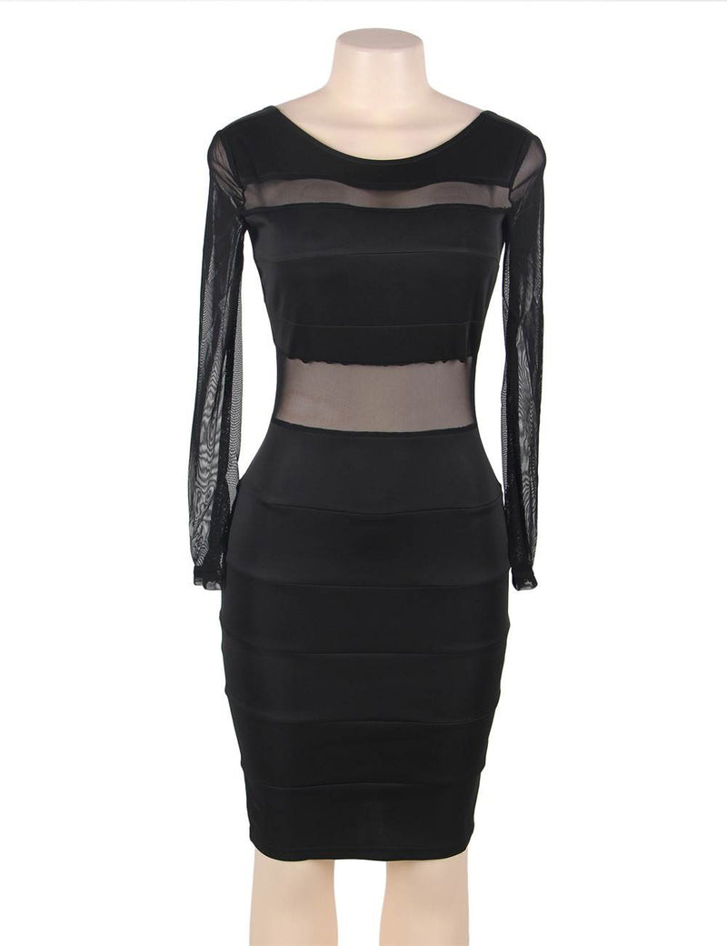 Stylish See Through Black Mesh Long Sleeves Bodycon Plus Size Dress