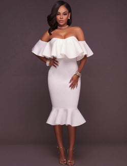 Ruffled Off Shoulder Women Fashion Clothing Plus Size White Dress