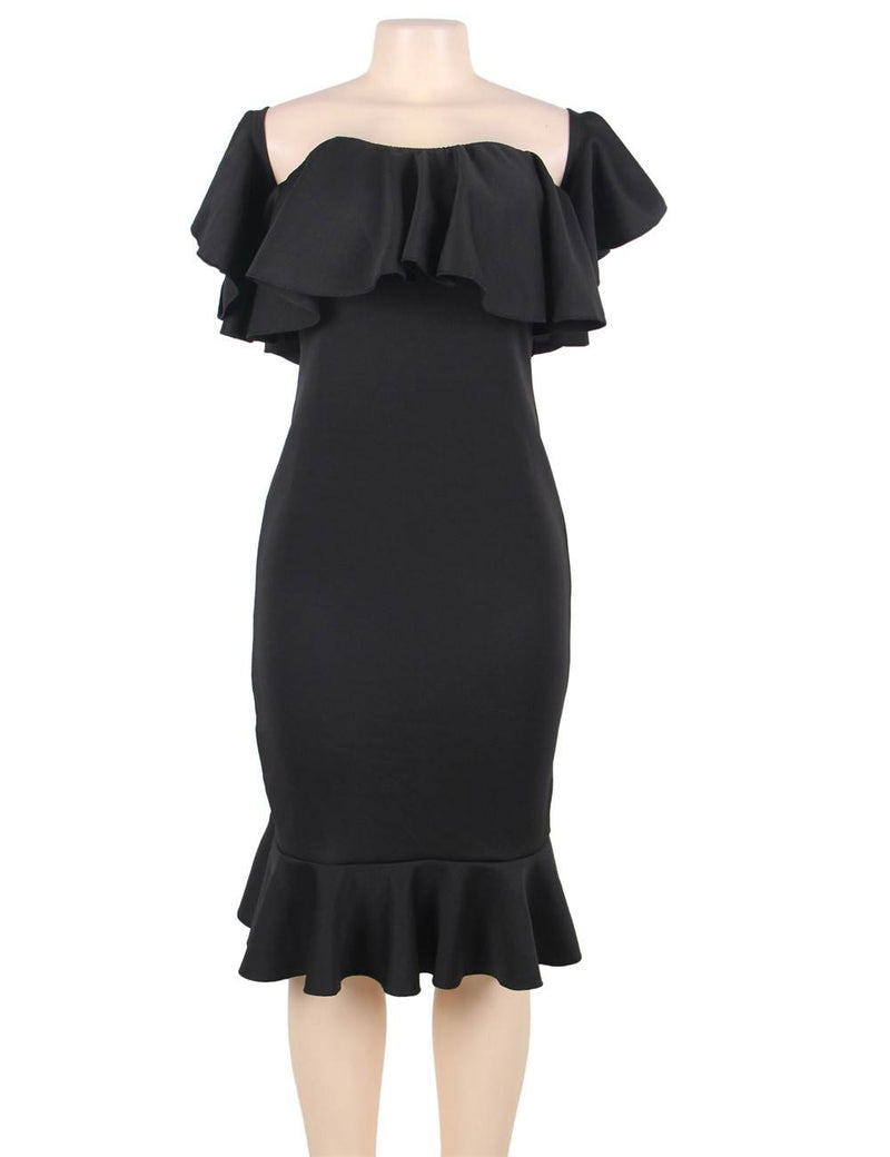 Off Shoulder Knee Length Ruffle Bodycon Plus Size Dresses