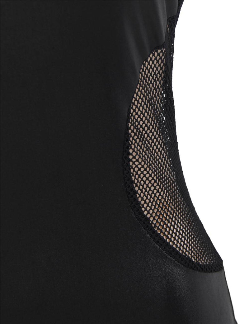 Cheap Plus Size Black Leather Mesh Stitching Sexy Ladies Clothing
