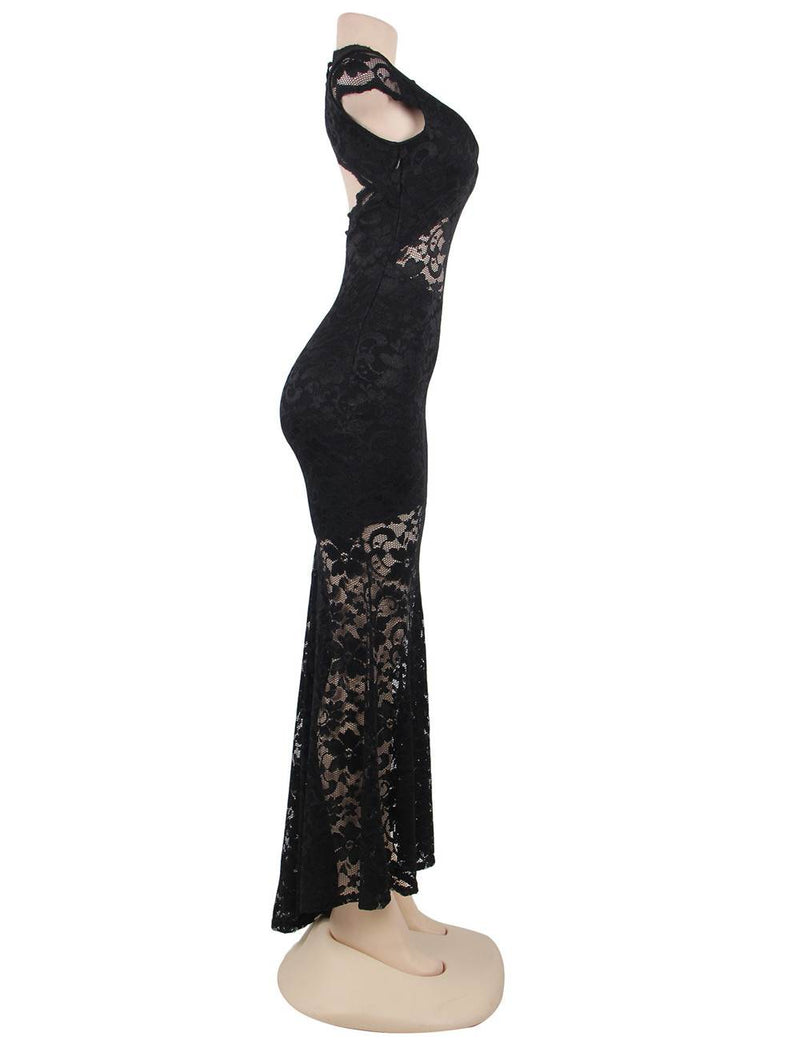 Super Delicate Short Sleeve Black Lace Backless Fishtail Party Gown