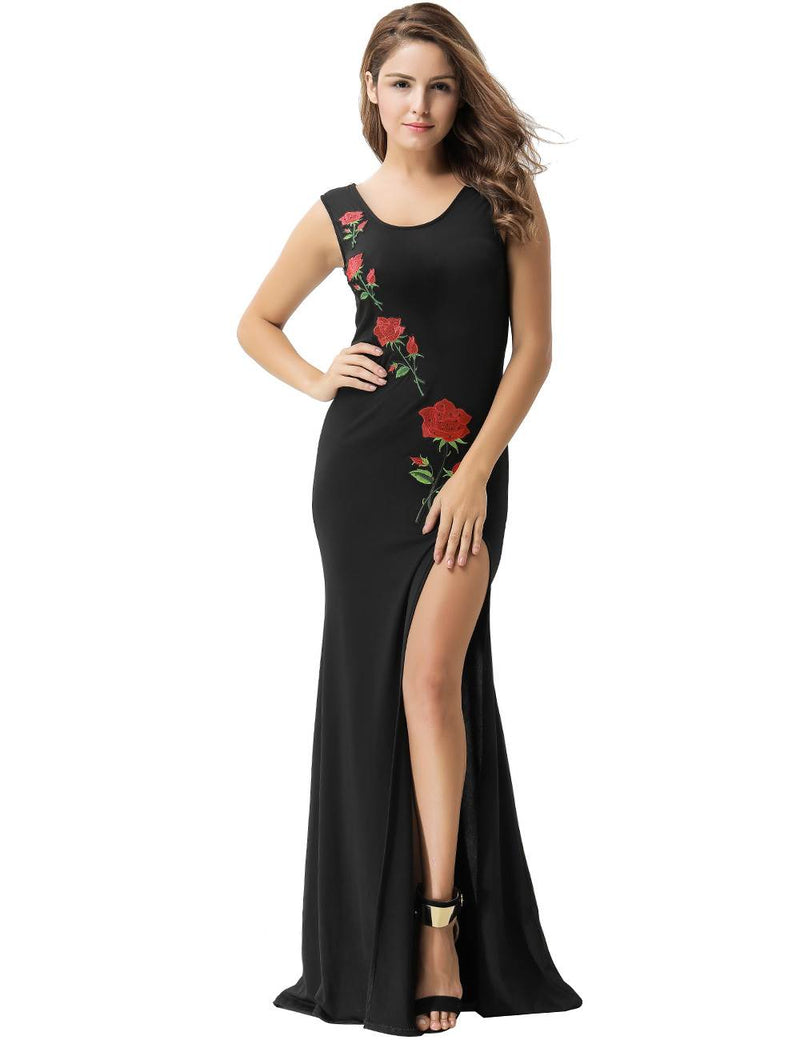 Elegant Sleeveless Floral Embroidered Side Slit Black Party Dress