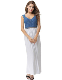 Sweet Girls V Neckline Sleeveless White Mesh Maxi Casual Dresses