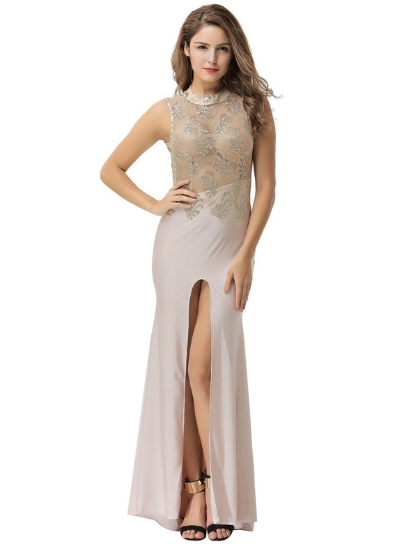 Graceful Sleeveless Apricot Mesh Sequined High Slit Evening Gowns