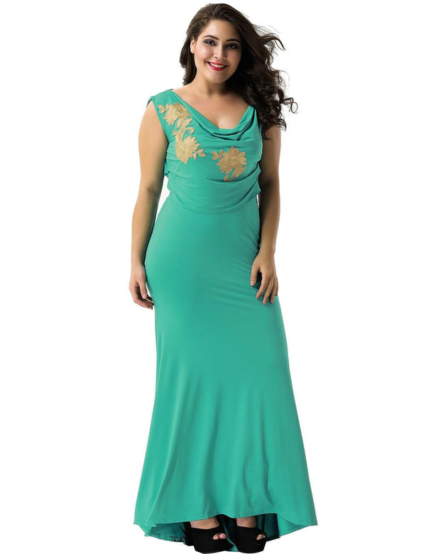 Gorgeous Green Floral Embroidery Backless Sleeveless Party Dresses