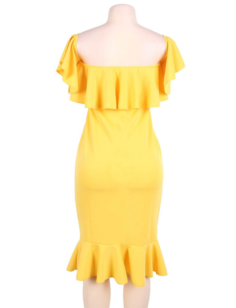 Delicate Yellow Ruffled Off Shoulder Plus Size Bodycon Dress