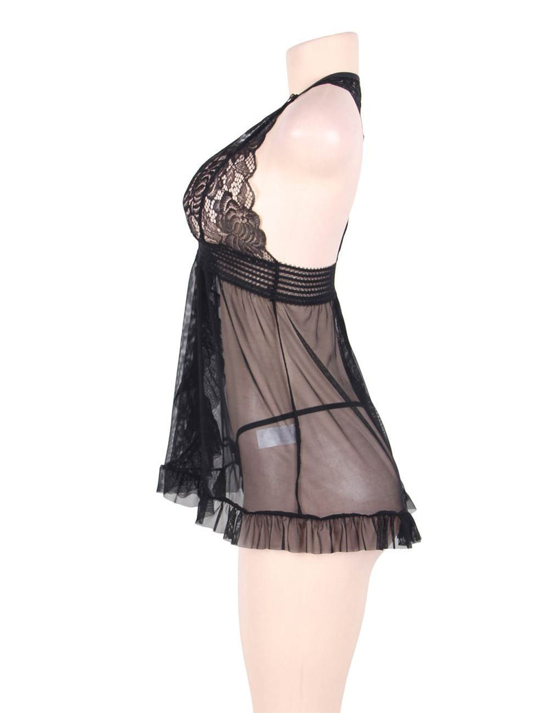 Curvy Plus Size Black Lace Sheer Slashed Up Halter Babydoll Dress