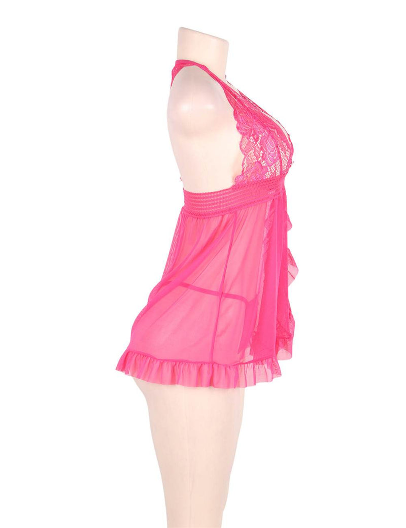 Super Delicate Plus Size Pink Lace Sheer Halter Babydoll Dress