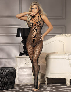Super Stretchy Sexy Hollow Black Fishnet Crotchlerss Bodystocking
