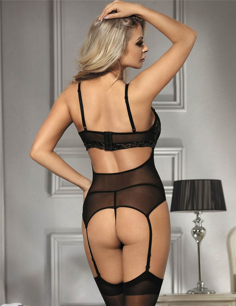 Elegant Embroidery Black Mesh Stretchy Babydoll With Suspenders