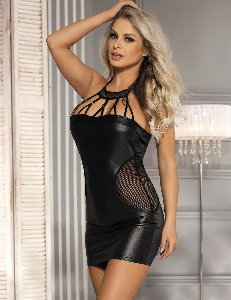 Superb Black Faux Leather Mesh Stitching Sexy Halter Dress