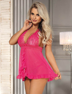 Alluring Lovely Pink Sheer Lace Cup Halter Babydoll Dress
