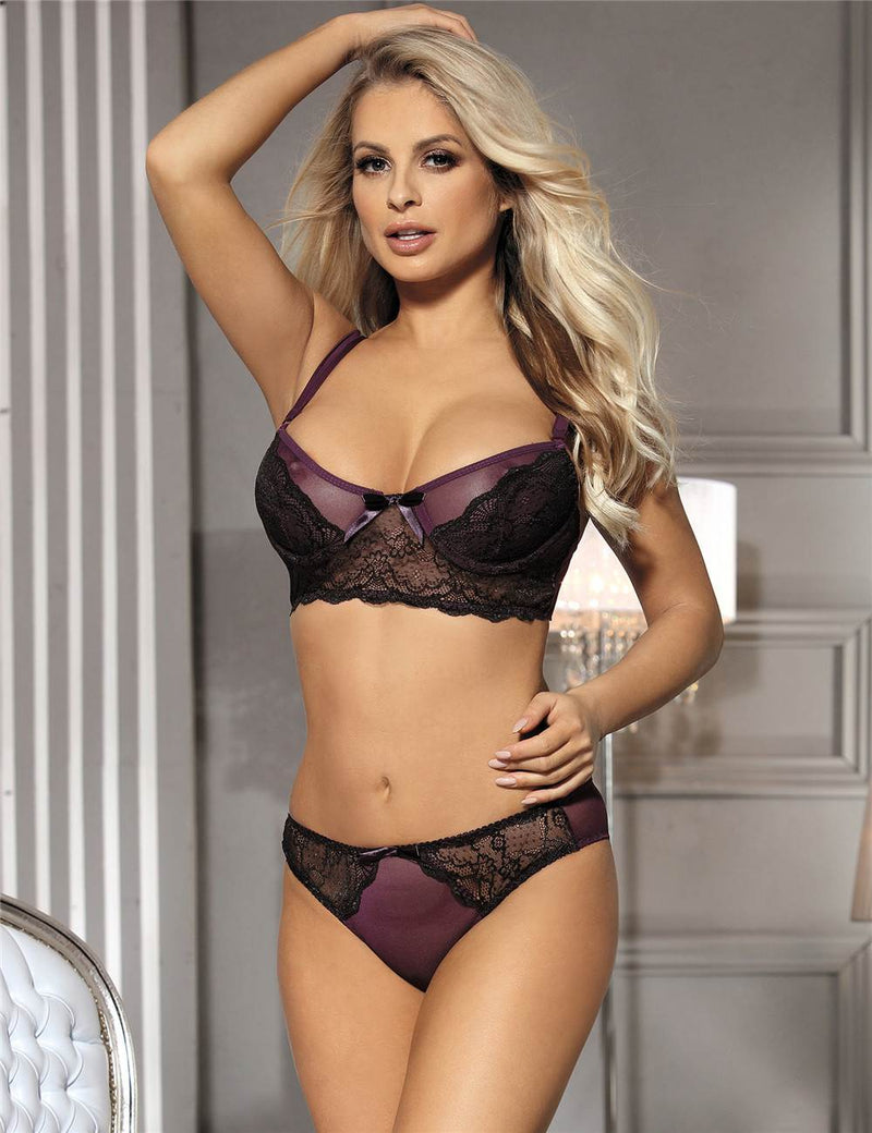Queen Size Purple Mesh Underwired Sheer Bra Set Underwear