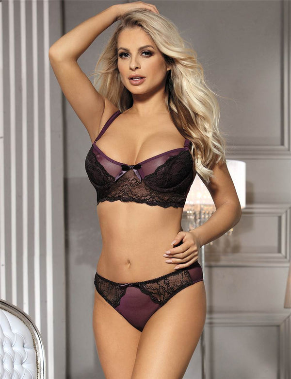 Exquisite Purple Mesh Black Lace Stitching Underwired Bra Set